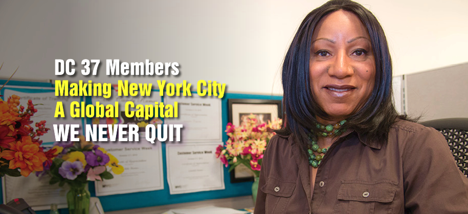 WE NEVER QUIT: Patient Care Associate Rhonda Carter of Local 420.